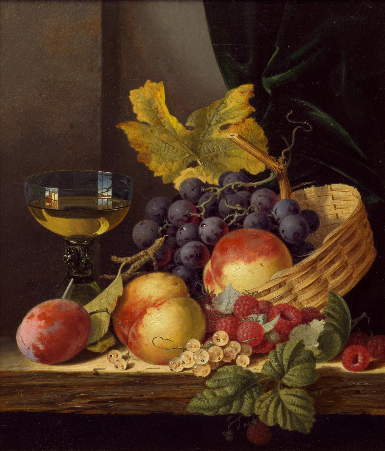 EDWARD LADELL -  A basket of peaches and grapes with raspberries and a roemer on a wooden ledge, Oil on canvas 14 x 12 in (35.6 x 30.5 cm)