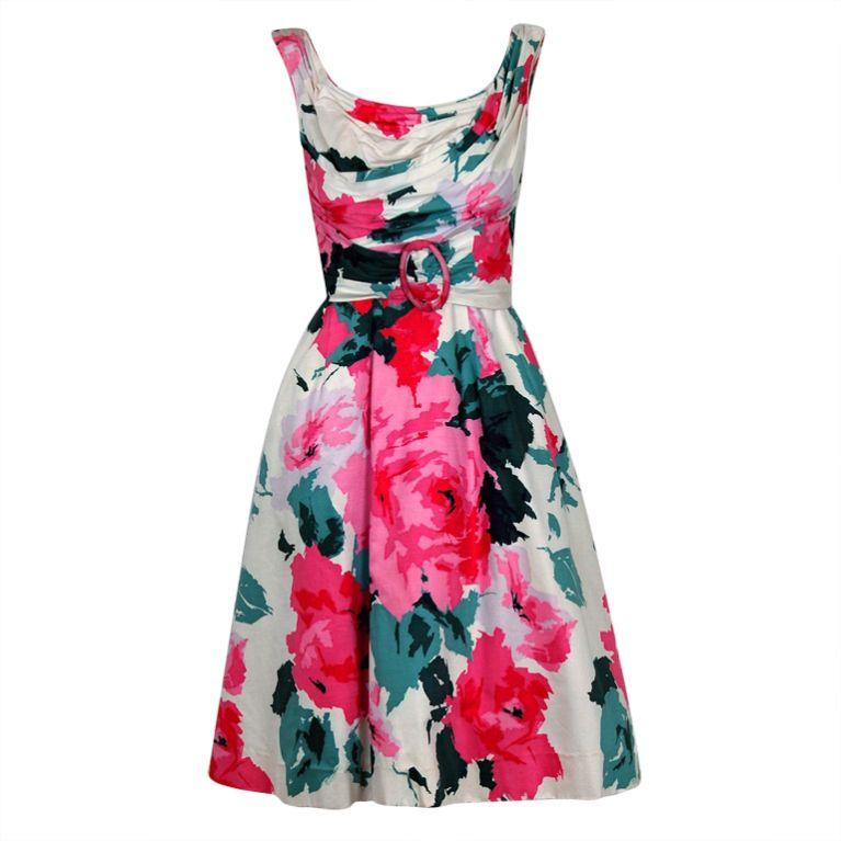 1950's Ceil Chapman Watercolor Pink Roses Floral Print Ruched-Cotton Dress
