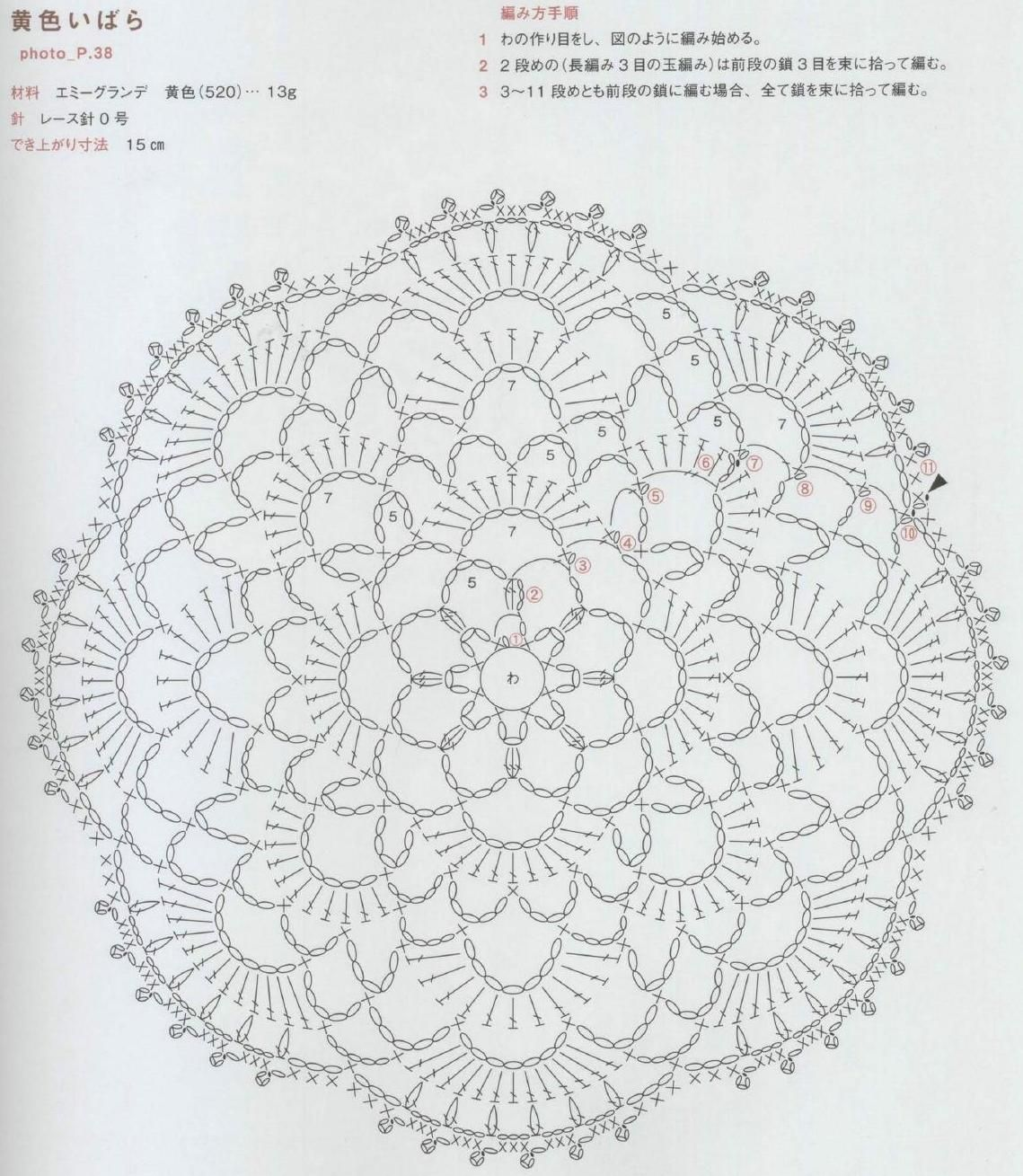 Clippedonissuu From Crochet Asahi Rose Pattern Scans Japanese Doily Diagram Patrones 2 Patterns Pin