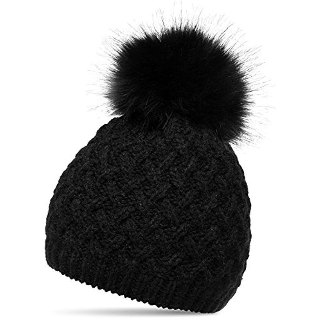 6945aff0394 CASPAR MU177 Bonnet en tricot doublé pour femme - bonnet avec torsades et  gros pompon en