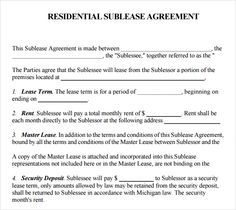 Printable Sample Sublease Agreement Template Form  Miste