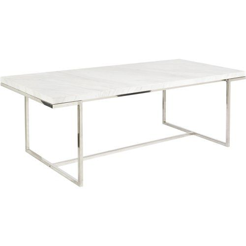 Dining table with stainless steel legs and a white marble - White metal dining table ...