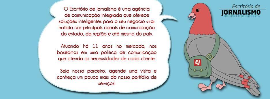 Cover com uso do mascote (Palomito) - cliente: Escritório de Jornalismo