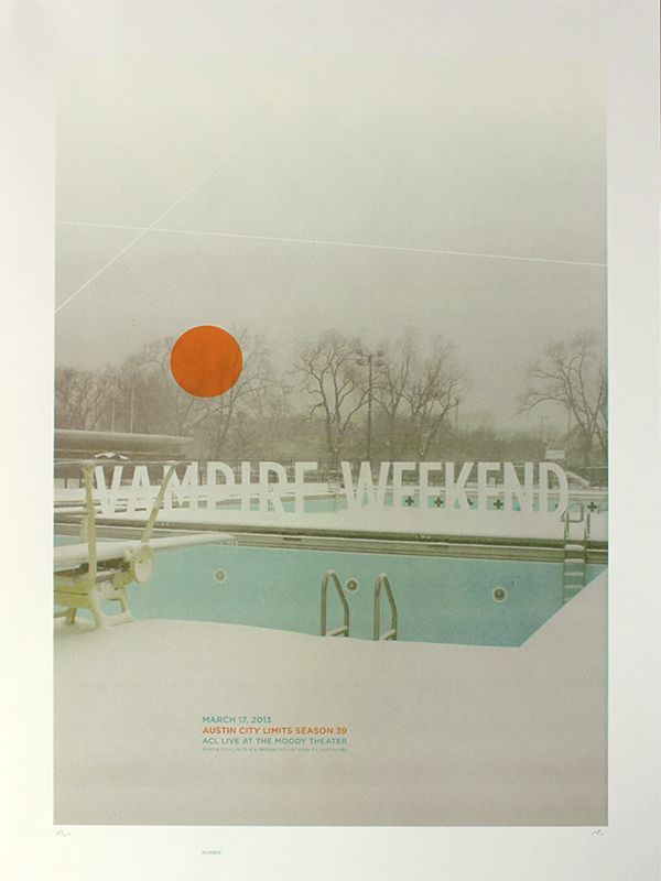 vampire weekend acl austin city limits delicious design league pool frozen moody theater screen print screenprint $30