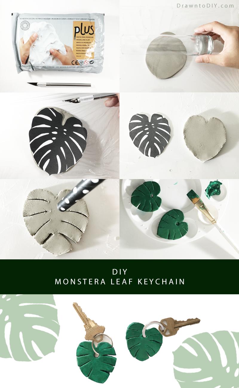 Diy Monstera Leaf Keychain Handmade Diy Clay Clay Keychain Diy