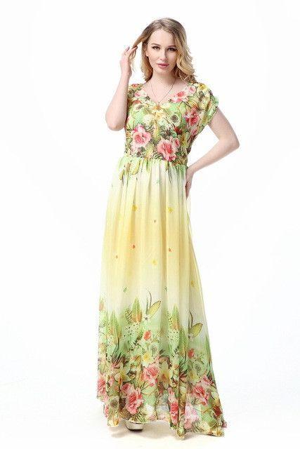 bd730cc0fbb93 Women Summer Print Beach Chiffon Dress Big Sizes Elegant Maxi Long Dresses