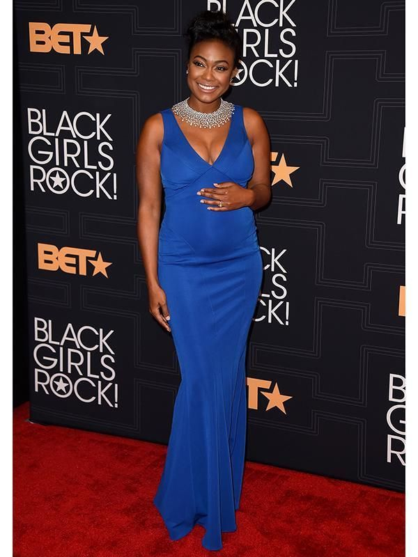 40d008618 Tatyana Ali Stuns in Blue As She Shows Off Baby Bump