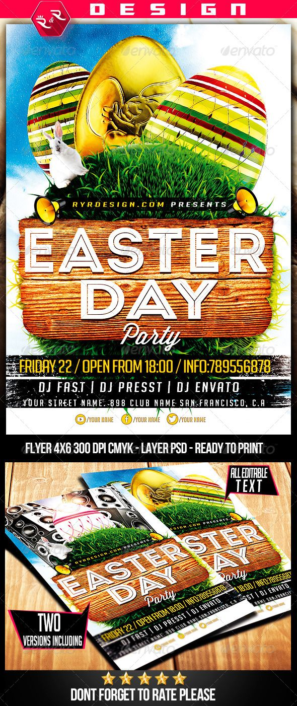 Easter Party Flyer Template  Easter Party Party Flyer And Flyer