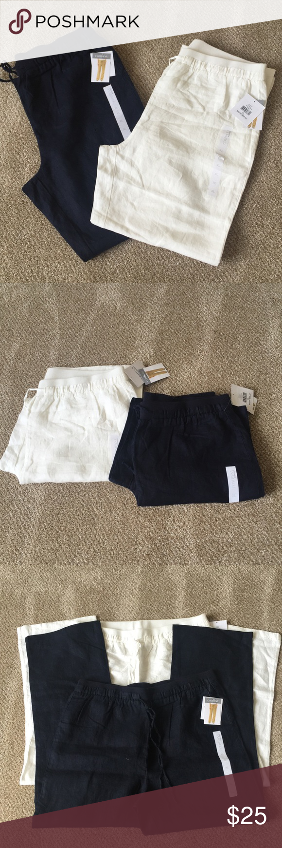 """Bundled 2 pair wide Leg Linen Ellen Tracy Pants. NWT """"ELLEN TRACY"""" White and Navy Blue. Drawstring Waist Casual Linen Pants, MISSES EXTRA LARGE,100% Linen Body, 95% Cotton/5% Spandex Ribbed Stretch ... Bundled for great price. Ellen Tracy Pants Wide Leg"""