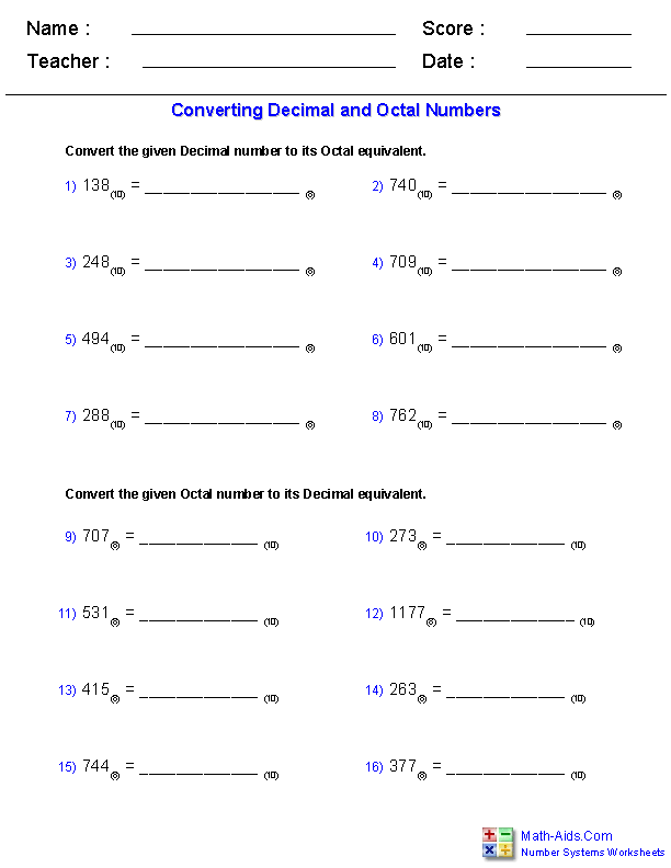 Number Systems Worksheets   Dynamically Created Number ...