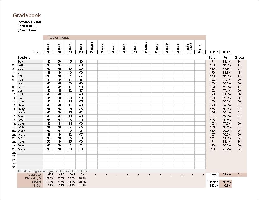 Gradebook Template For Excel Free Teacher Grade Book Grade Book Template Grade Book Teacher Grade Book