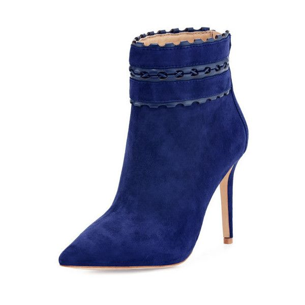 Badgley Mischka Dorsey Suede Bootie With Woven Leather Trim, Navy ($229) ❤ liked on Polyvore featuring shoes, boots, ankle booties, ankle boots, navy booties, navy ankle boots, suede boots, high heel ankle boots and pointed toe booties