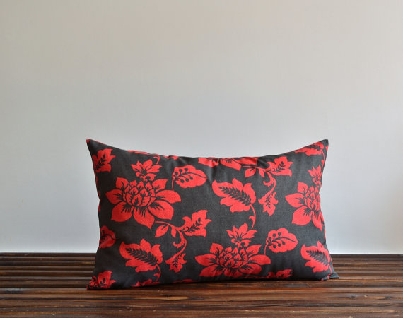 Red Floral Pillow Cover - Indoor Outdoor Pillow - 16x26 Lumbar Pillow Covers - Decorative Throw Pillow - Retro Pillow