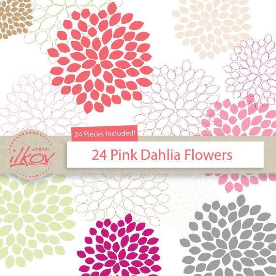 Premium Dahlia Flowers Vector Clip Art Clipart In Pink And Neutrals