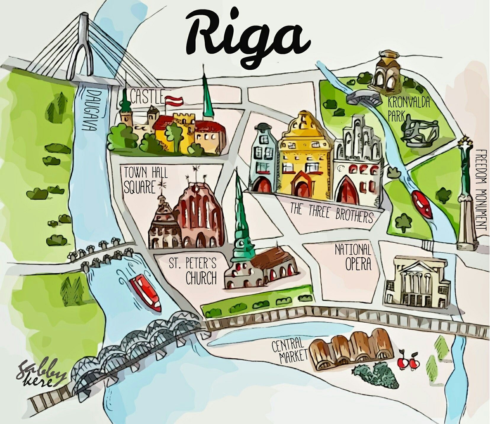 Map Of Riga Old Town Watercolour Riika