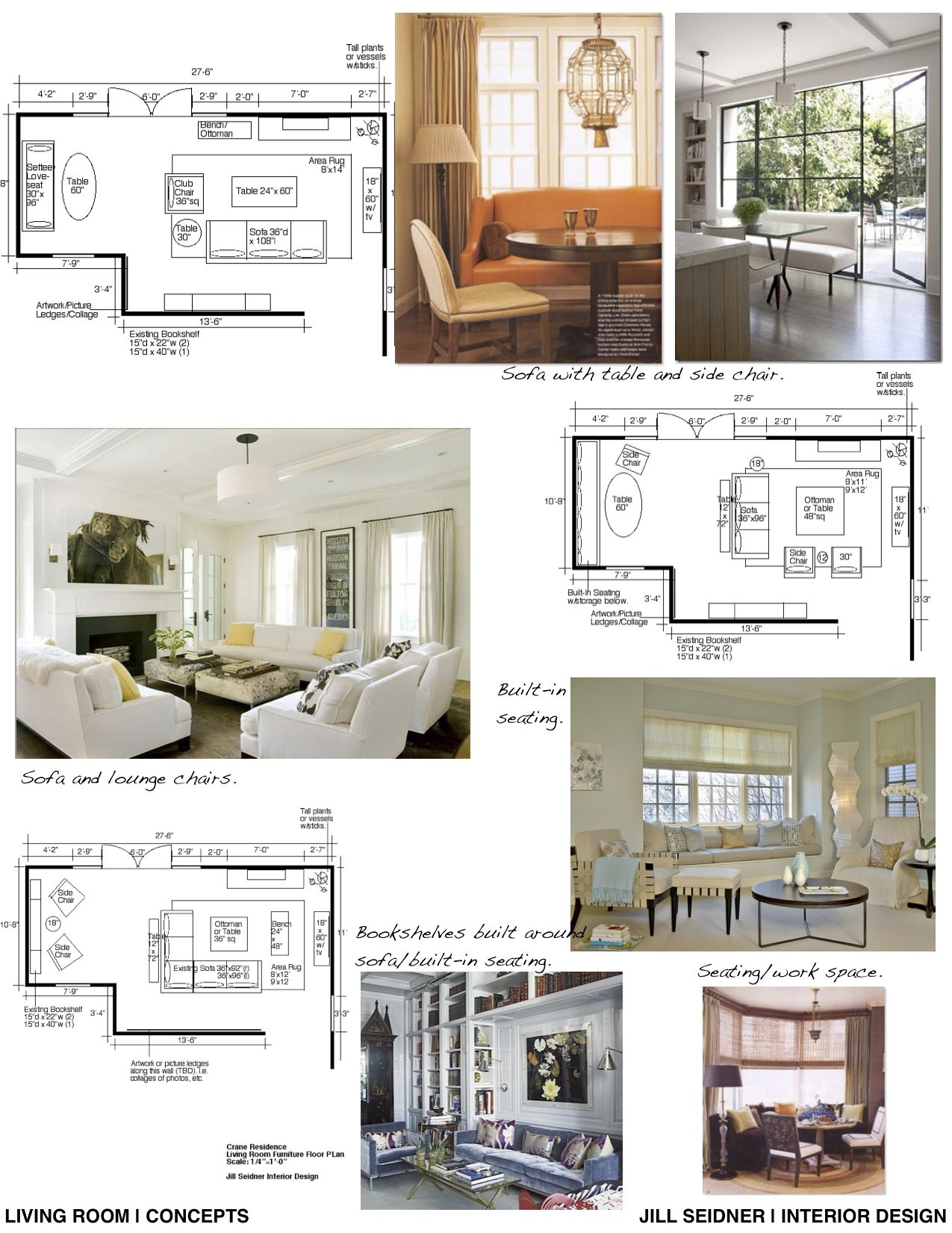 Concept board and furniture layout for a living room.