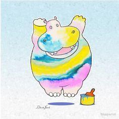 Deborah Niland Illustrations Hippo In The Paint Posters By Deborah Niland Redbubble Adapted カバ