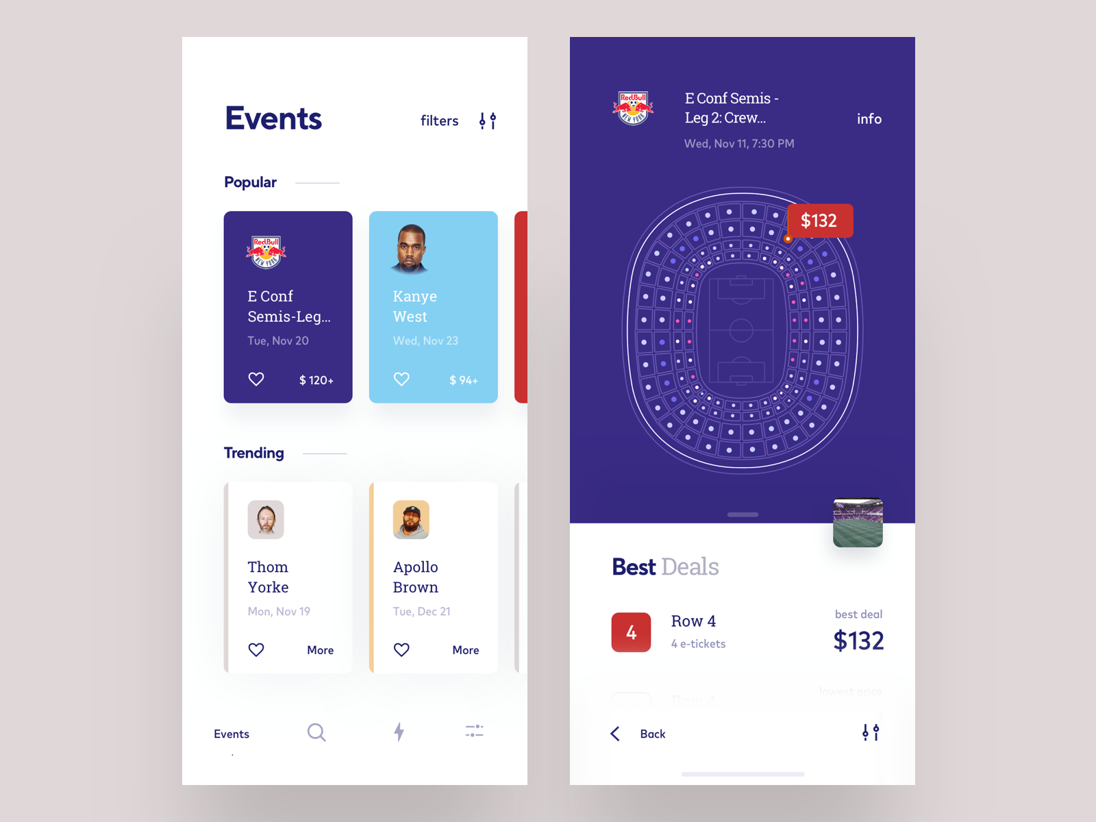 282b3bbc74 Events app concept with booking feature filter payment ticket booking  purple concept app illustration trending popular football events ux ui  cuberto