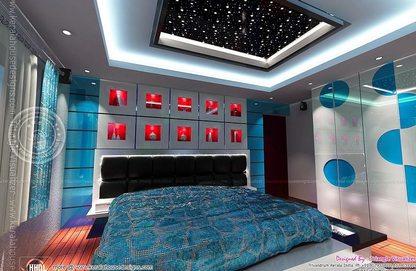 Modern style of gypsum ceiling bedroom with blue lighting for Bedroom gypsum ceiling designs photos