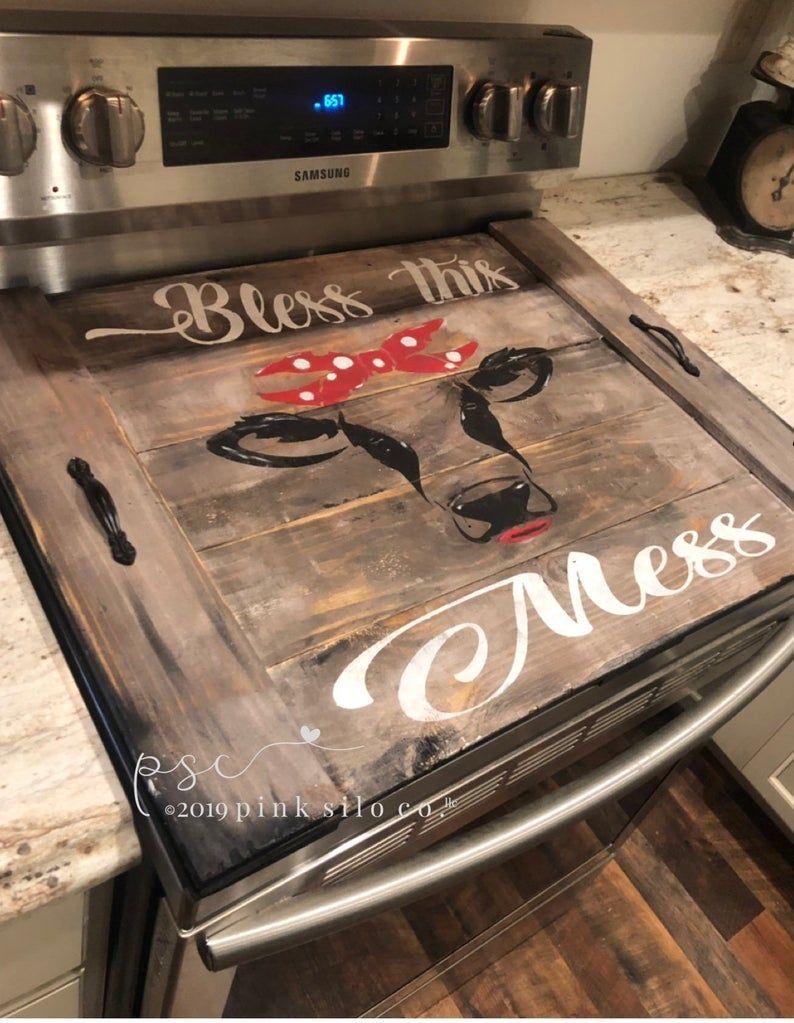 Bless this mess Farmhouse stove top board / cow stove cover / heifer stove cover / noodle board / cover for stove / rustic kitchen decor - Farmhouse ideas #Bless #board #cover #Cow #Decor #Farmhouse #heifer #Ideas #Kitchen #Mess #noodle #Rustic #stove #Top #HomeDecor #Home #Decor