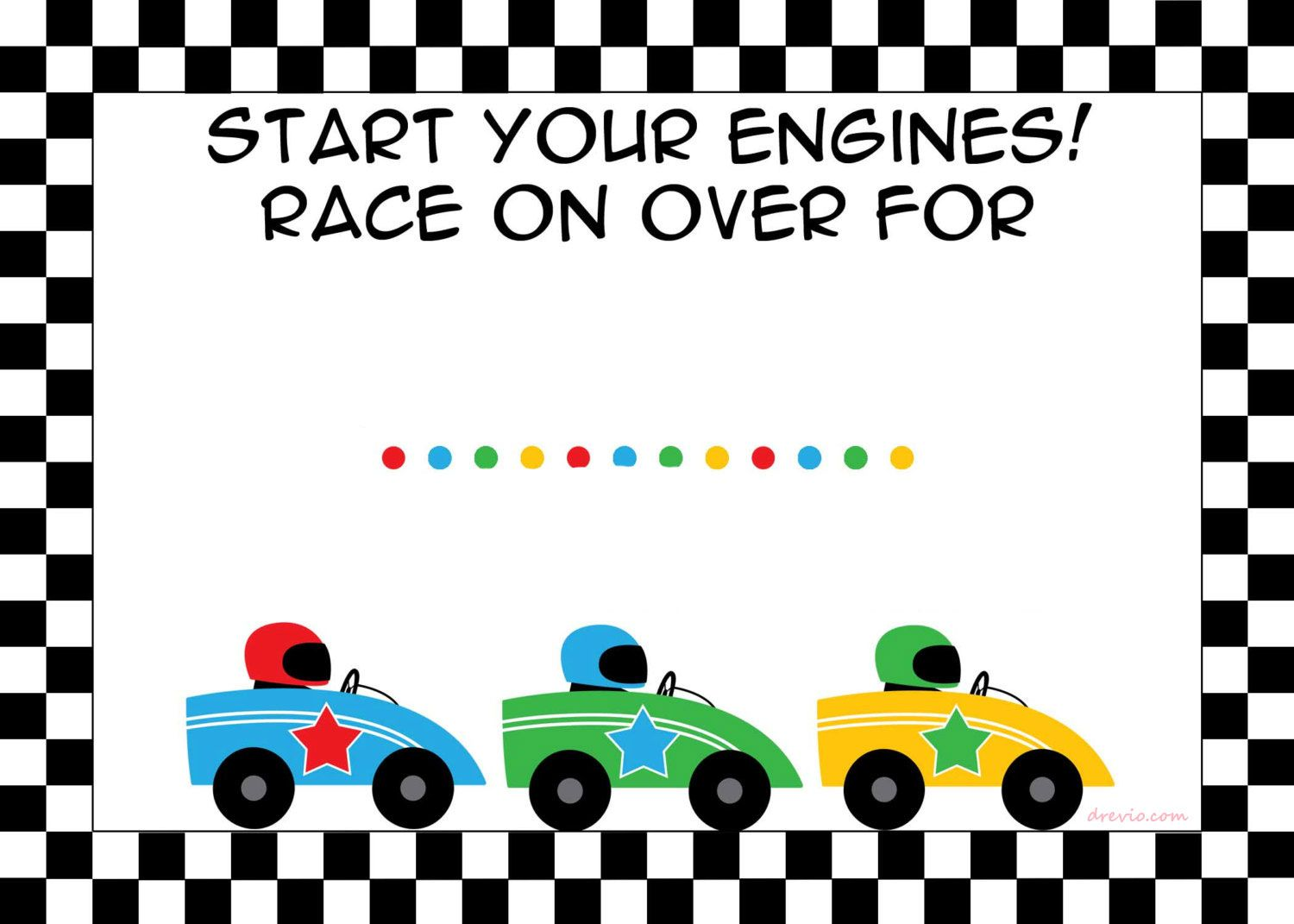 Free Printable Race Car Birthday Party Invitations Template | Drevio ...
