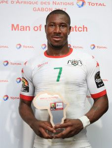 Prejuce Nakoulma of Burkina Faso wins Total Man of the Match during the 2017 African Cup of Nations Finals Afcon quarterfinal football match between Burkina Faso and Tunisia  at the Libreville Stadium in Gabon on 28 January 2017 ©Gavin Barker/BackpagePix