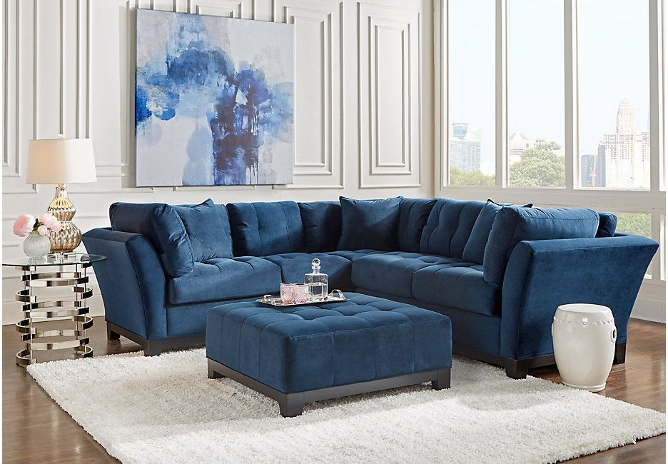 Cindy Crawford Home Metropolis Navy 2 Pc Sectional Sectionals Blue Living Room Sets Furniture Sectional Living Room Sets Living Room Sets
