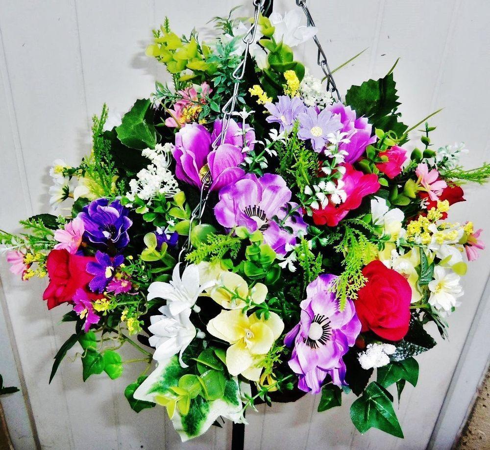 Artificial Hanging Basket Silk Flowers Cosmos Rose Anemone Lilys