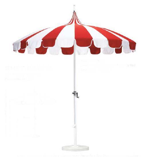Red And White Striped Umbrella Garden Design Details