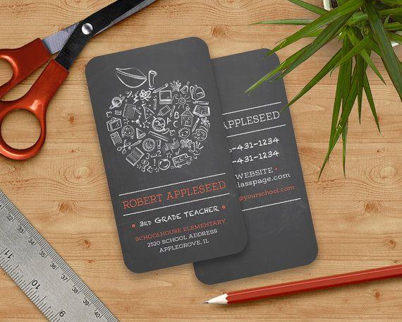 teachers apple business card chalkboard apple by