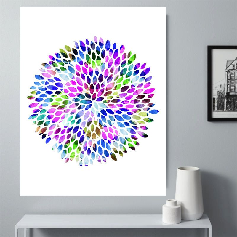 Trendy Wall Art modern geometric colorful flower wall art, family room decor