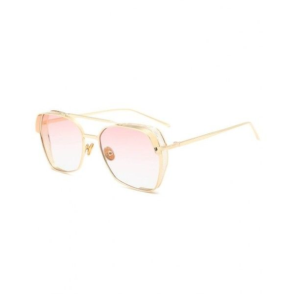 2b1898554 Geometrical Frame Double Metal Crossbar Sunglasses Pink ($6.99) ❤ liked on  Polyvore featuring accessories