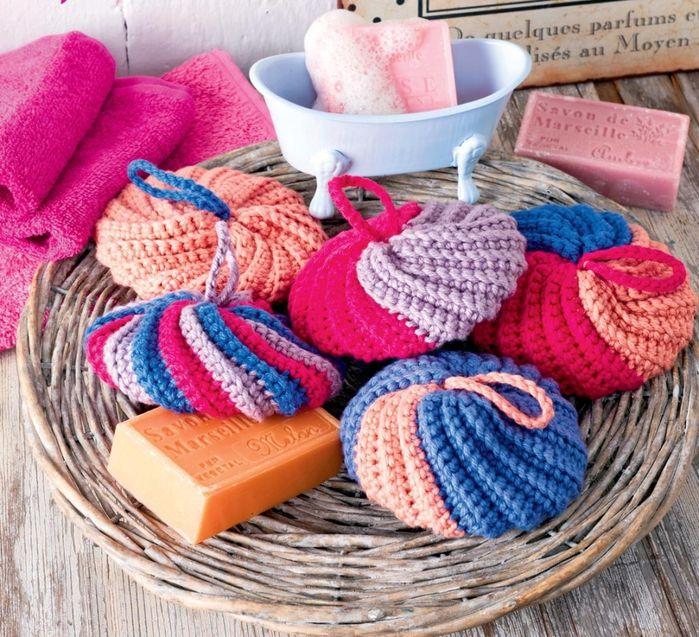 губки для ванной Tutorial Knitted Washcloths Crochet Dishcloths