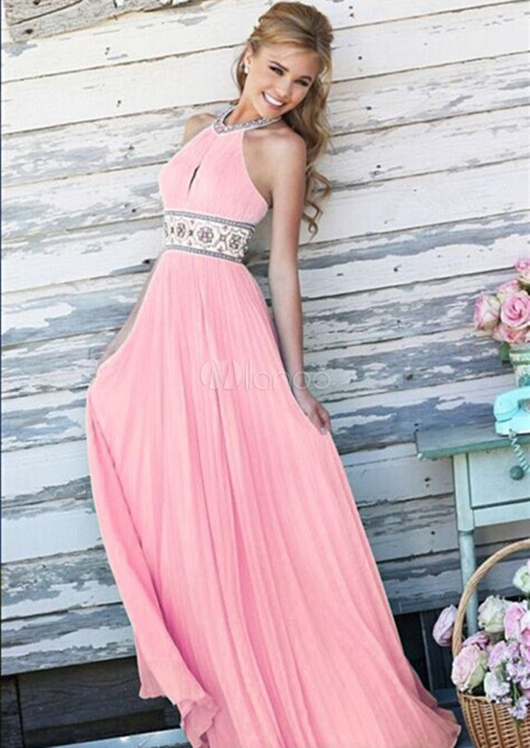 Pink Maxi Dress Backless Halter Sash Chiffon Long Prom Dress For ...
