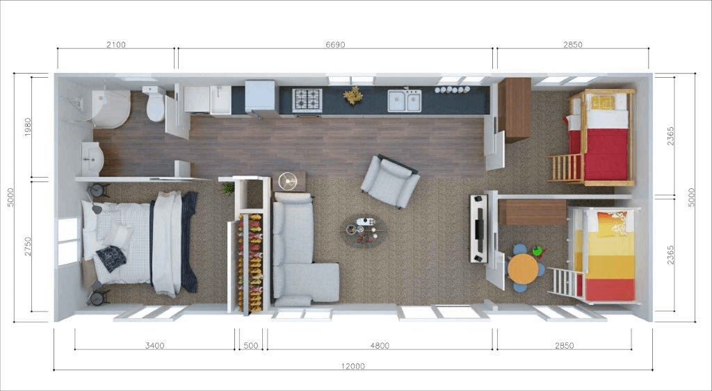 3 bedroom tiny house design plan one