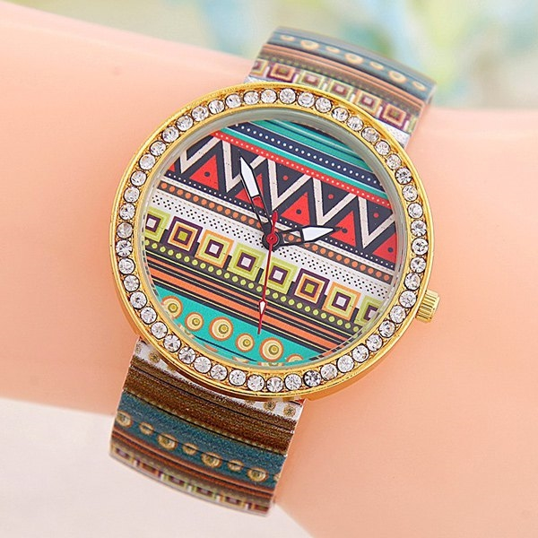 4.11$  Buy here - http://dipph.justgood.pw/go.php?t=202746103 - Rhinestone Geometric Print Quartz Watch