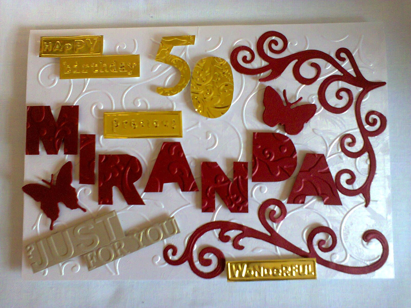 Personalized 50th Birthday Card Done In A5 And A4 Handmade