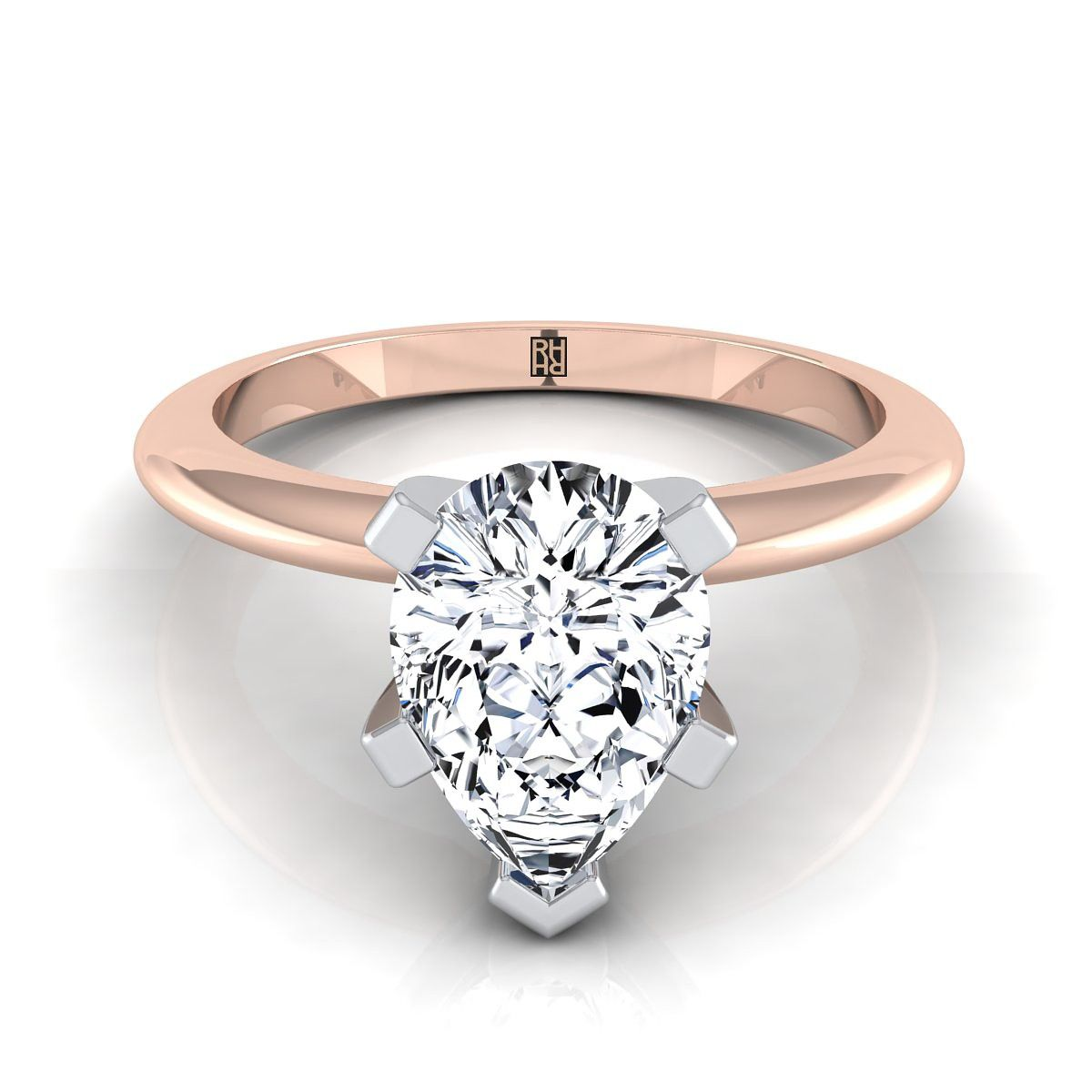 prong pear shape solitaire engagement ring with petite modern