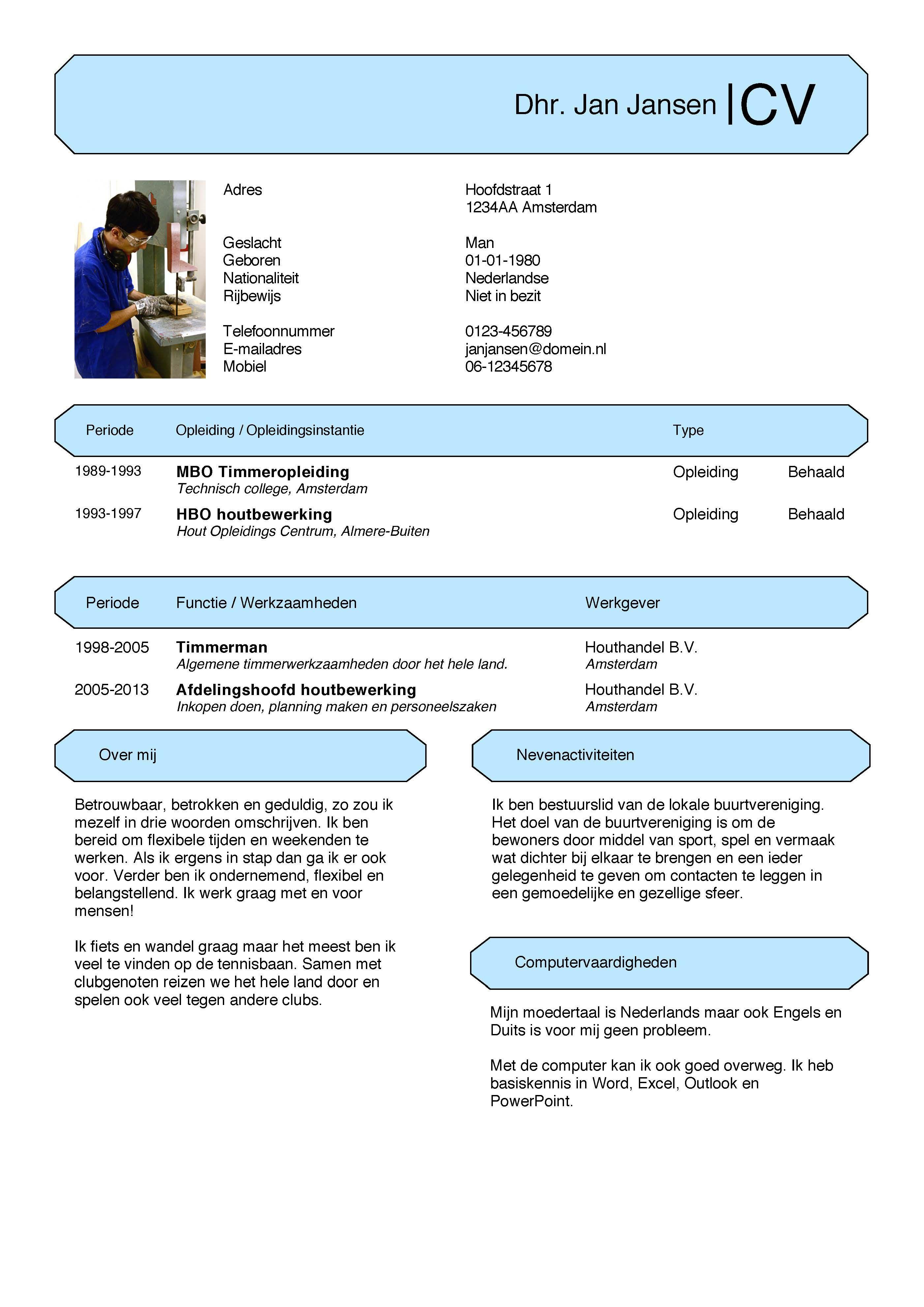 CVVoorbeeld Eenvoudige, gratis CV Nieuwe baan