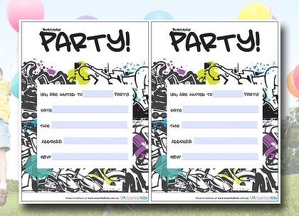 Graffiti inspired party invitations free at essentialkids – Invitations for Parties
