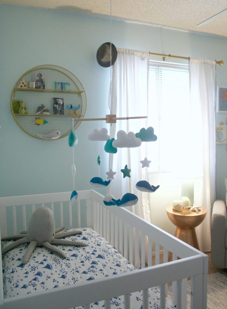 Lincoln S Relaxing Beachy Keen Affordable Nursery Project Nursery Whale Baby Room Beach Baby Rooms Beach Baby Nurseries