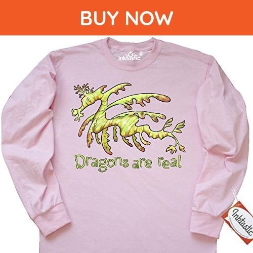 Inktastic Dragons Are Real- cute leafy sea dragon Long Sleeve T-Shirt Small Classic Pink - Animal shirts (*Amazon Partner-Link)