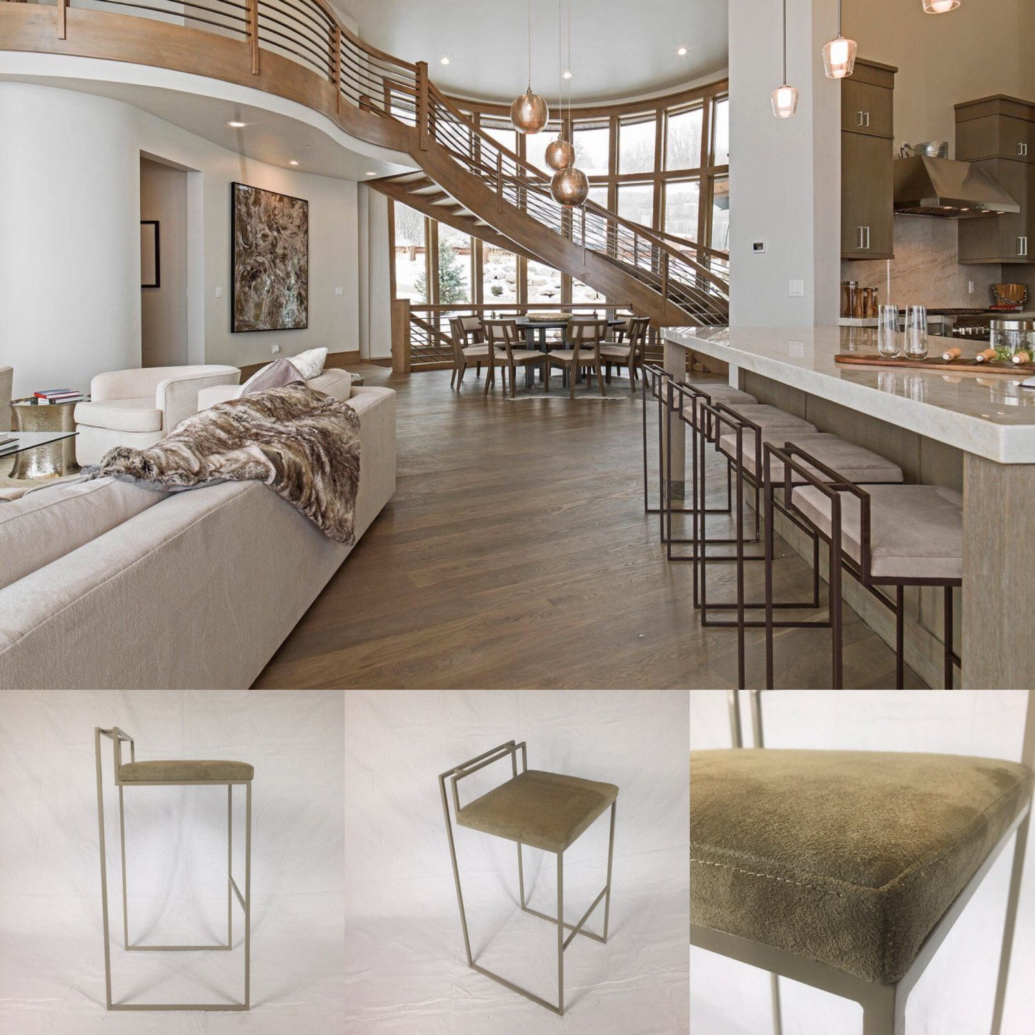 The Square Stool | White leather dining chairs, Round back ...