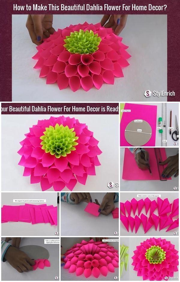 Modular Paper Dahlia Flower Tutorial Paper Dahlia Flower Tutorial Flower Crafts