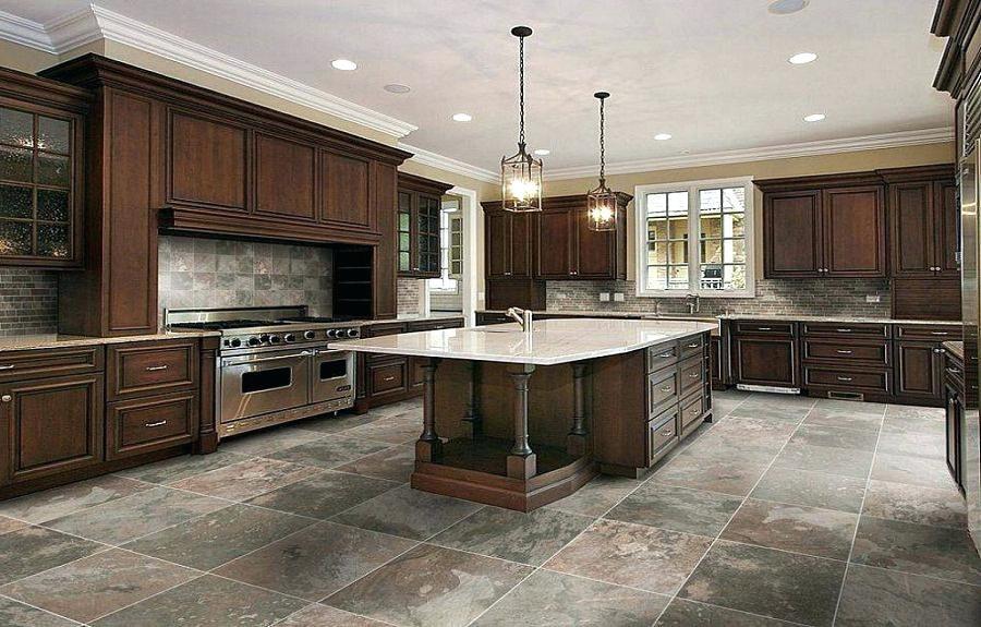 Slate Grey Floor Tile Paint Rustic Island Pendant Lighting Feat Dark Wood Cabinets Design Also Best Modern Kitchen Flooring Kitchen Floor Tile Kitchen Flooring