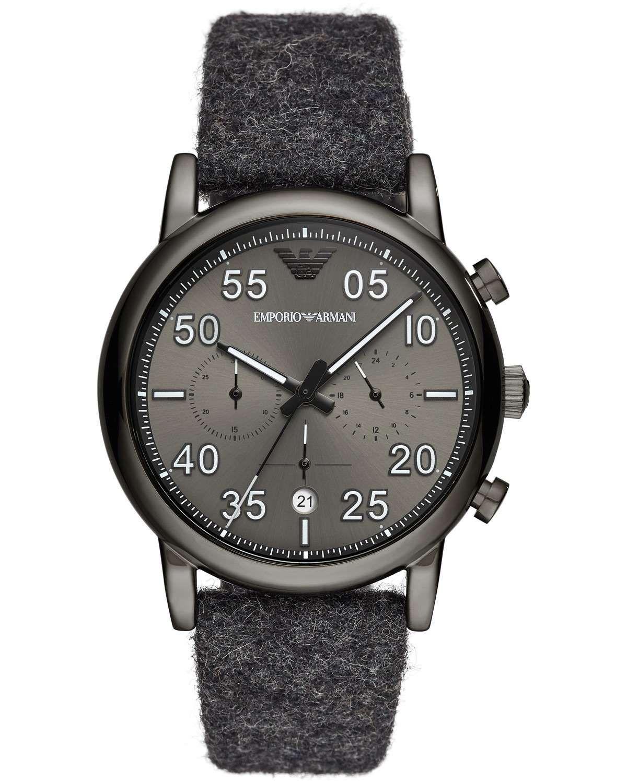 Luigi Ar11154 Fabric Strap Grey Chronograph Emporio Armani N8wmn0