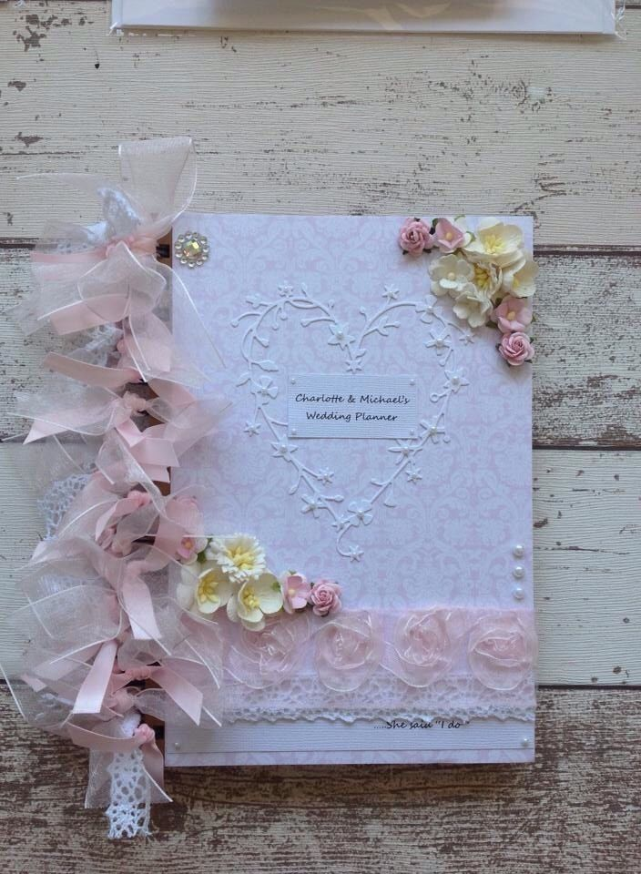 Personalised Wedding Planner Book Beautifull Decorated With Flowers Heart Lace