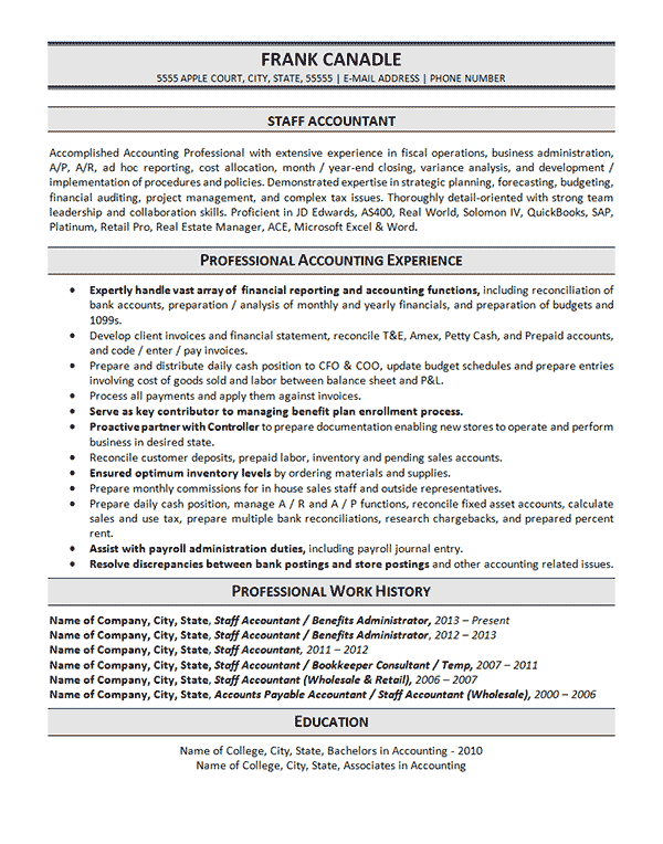 this sample of a resume is for a staff accountant with experience in budgeting  fiscal