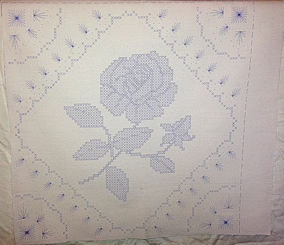 Vintage Stamped Embroidery Quilt Block With By Forgottentreasurz