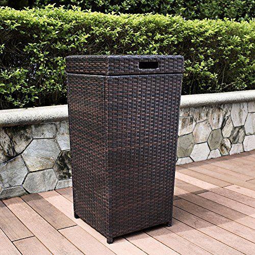 Crosley Palm Harbor Outdoor Wicker Trash Bin Crosley Http Www Amazon Com Dp B00fre5poa Ref Cm Sw R Pi Dp Lsubwb1 Outdoor Trash Cans Outdoor Wicker Trash Bins